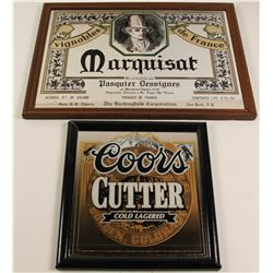 Coors Cutter and Marquisat Beer Framed Mirrors  (76809)