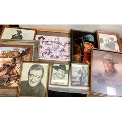 John Wayne Collectibles, (Plates, Mugs, framed pics)  (87422)