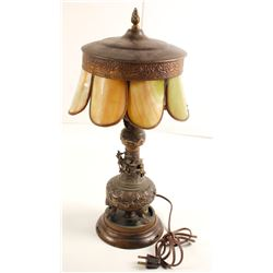 Stained Glass and Brass Lamp  (80803)