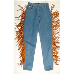 Denim Jeans for Women with Brown Suede Leather Fringe  (76236)