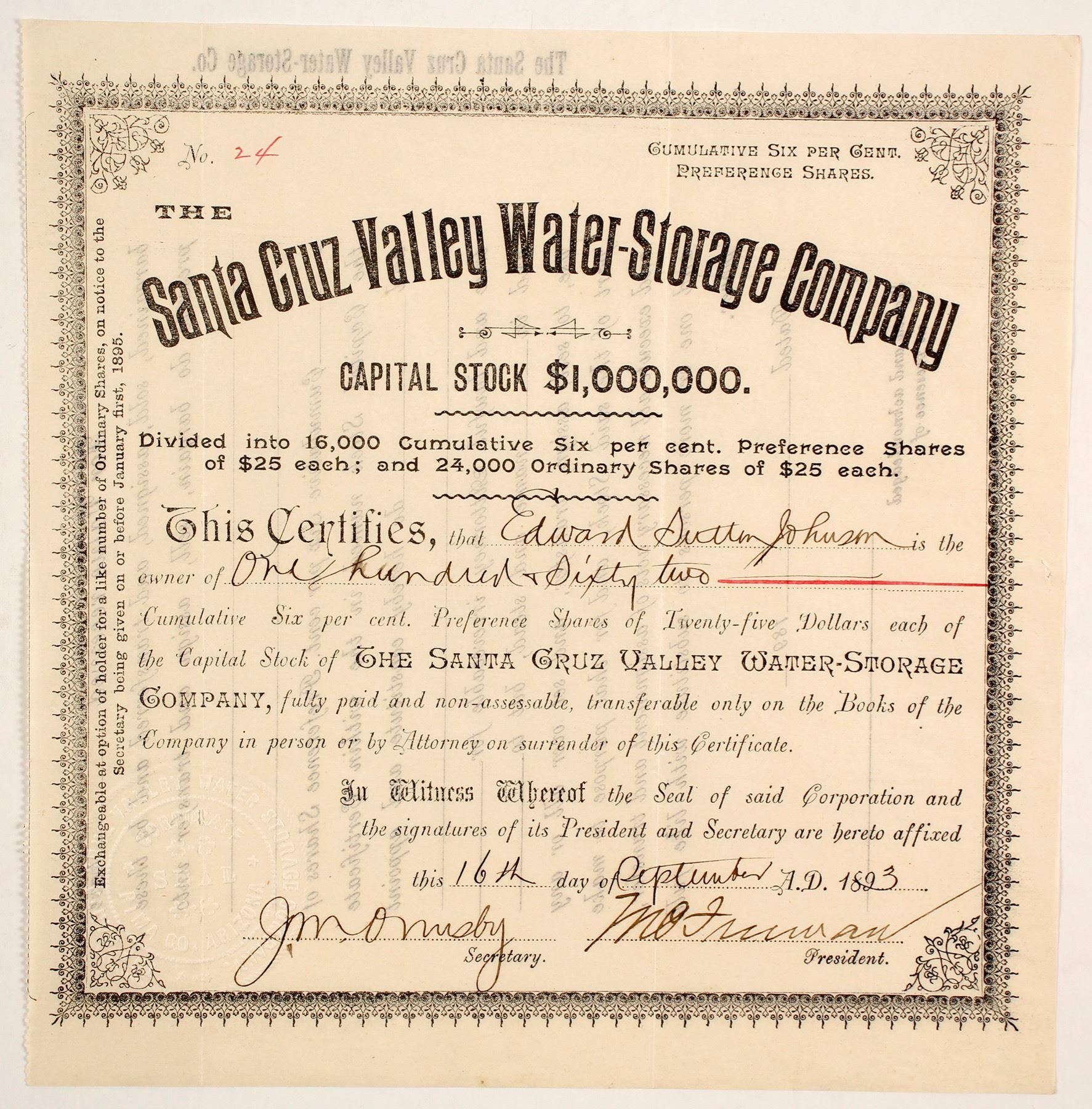 Image 1 : Santa Cruz Valley Water Storage Company Stock (88009)