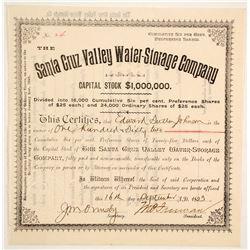 Santa Cruz Valley Water-Storage Company Stock  (88009)