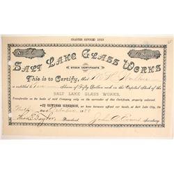 Salt Lake Glass Works: Extra Rare Western Glass Company  (87902)