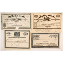 Four California Banking Stock Certificates  (86160)