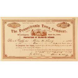 The Pennsylvania Town Company Stock Certificate (Arlington Springs)  (34968)