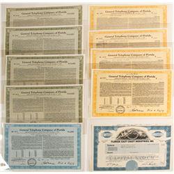 Florida Telephone Stock Certificates & Bonds  (60046)