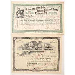 Two Electric Lighting Company Stocks  (87953)