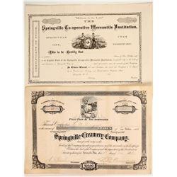 Two Springville Stock Certificates  (86716)