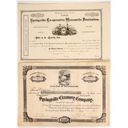 Two Springville Stock Certificates  (86716)
