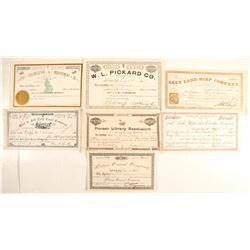 Seven Salt Lake City Datelined Stock Certificates  (86718)