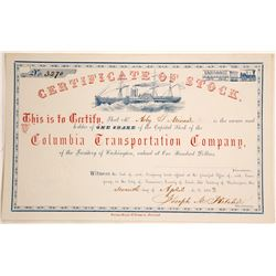 Columbia Transportation Company Stock Certificate, Washington Territory, 1863  (60115)