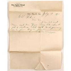 Ophir Hotel, CA Letter to GE Lukens  (88309)