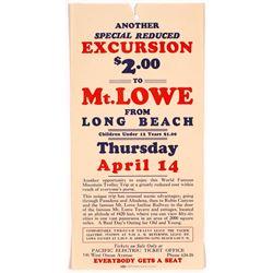 Mt. Lowe, CA Pacific Electric Train Broadside  (54329)