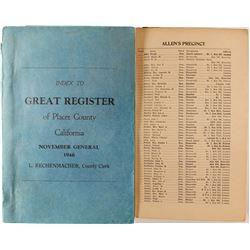 Placer County, CA General Register Index  (88343)