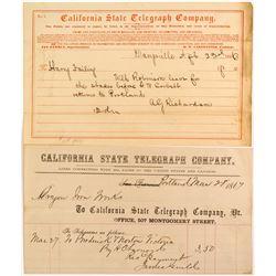 Rare California Telegraph Pair  (53451)