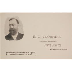 E.C. Voorheis, California State Senator & Mining Man, Pictorial Business Card, c.1890s  (59998)