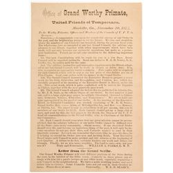United Friends of Temperance Handbill, c.1874  (60061)