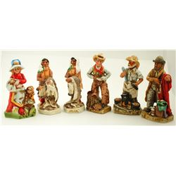 Western Whiskey Figurine Bottles / 6 Pieces  (61475)