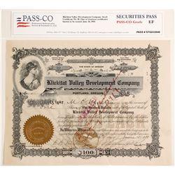Klickitat Valley Development Company Stock Certificate, 1911  (60048)