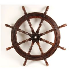 Old Sailing Ship Wooden Helm Wheel  (88377)