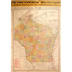 Wisconsin Railroads Map   (59600)