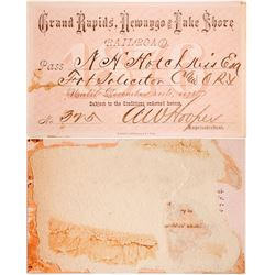 Rail pass for Grand Rapids, Newaygo & Lake Shore Railroad, 1876  (59941)