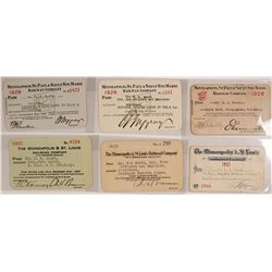 Rail passes for Minneapolis Railroad lines (6 count)  (59949)