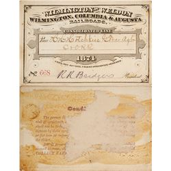 Rail Pass for Wilmington & Weldon / Wilmington, Columbia, & Augusta Railroad, 1874  (59937)