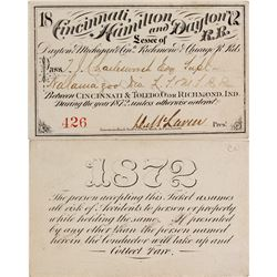 Rail pass for Cincinnati, Hamilton & Dayton Railroad, 1872  (59975)