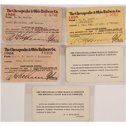 Rail Passes for Chesapeake & Ohio Railway (5 count)  (59980)