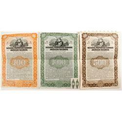 National Properties Co. American Railways Bonds (3)  (87015)