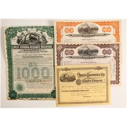 Eastern Railroad Stock/Bond Certificates (4)  (86974)