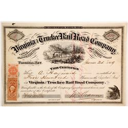 Virginia and Truckee Rail Road Co. Stock to Important Gold Rush & Comstock Figure (83762)