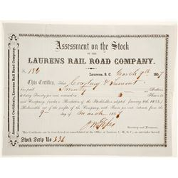 Laurens Rail Road Co - Assessment Certificate  (83803)