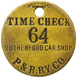 P. & R. Ry. Co. Time Check Tag  (87311)