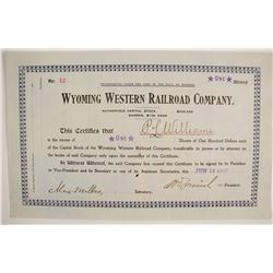Wyoming Western Railroad Stock  (87922)