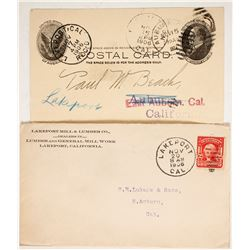 Lakeport Mill & Lumber Letterhead and Postal Cover  (88250)