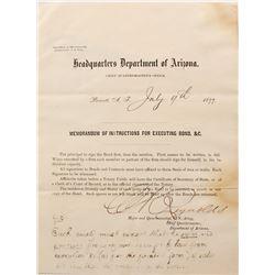 US Army Quartermaster's Instructions for Executing Bond, Prescott, Arizona Territory  (67048)