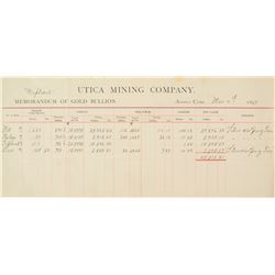 Utica Mining Co.  Gold Bullion Assay Document  (38278)