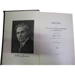 History of United Mine Workers of America 1860-1890 by Evans  (86245)