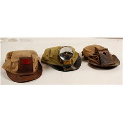 Miners Cloth Hats (3) and Carbide Lamp  (87449)