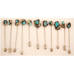 Turquoise Stick Pins (19)  (87167)