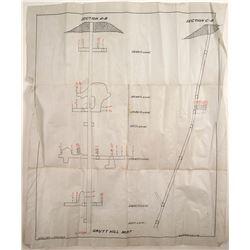 Linen Map of Grutt Hill Mint Mine,  Rawhide, nv  (23001)