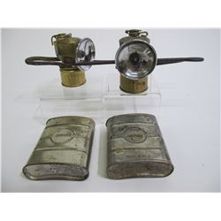 Carbide Lamps with Unusual Candleholders and Tins (2)  (89312)