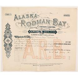 Alaska Rodman Bay Company Stock  (88069)