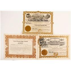 Three nice Alaska Copper Stock Certificates  (88062)