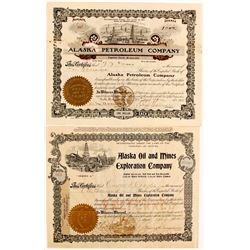 Two Alaska 1900's Oil Stock Certificates  (88061)