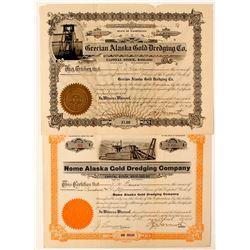 Two stocks of Alaska Gold Dredging Co  (83673)