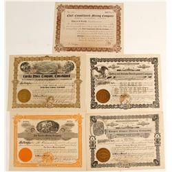 Warren District Stock Certificates (5 count)  (62973)