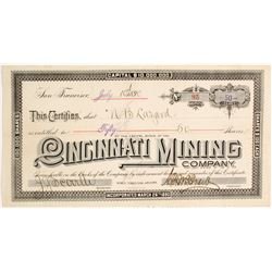 Cincinnati Mining Company Stock Certificate  (62954)